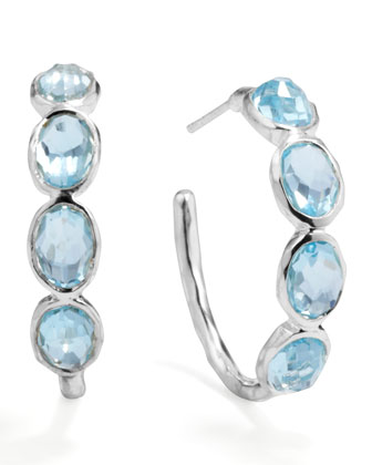 Silver Blue Topaz Hoop Earrings