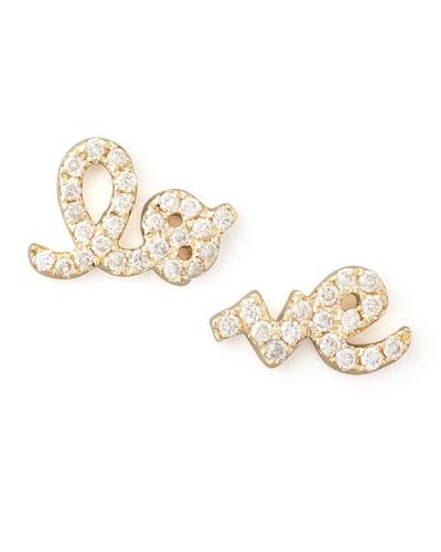 Yellow Gold Diamond Love Stud Earrings