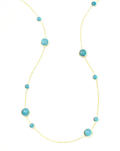 Gold Rock Candy Lollipop Station Necklace, Turquoise