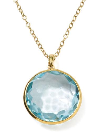18k Gold Rock Candy Lollipop Pendant Necklace, Lt Blue Topaz