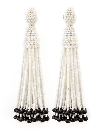 Beaded Long Tassel Earrings, White/Black
