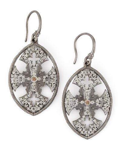 New World Diamond Maltese Cross Shield Earrings