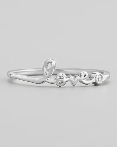 Bezel Diamond Love Ring, White Gold