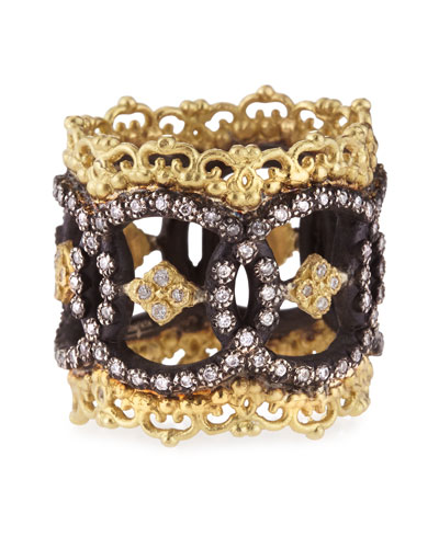 Midnight & 18k Yellow Gold Open Scalloped Crivelli Ring with Diamonds
