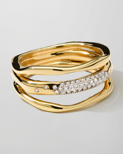18K Gold Stardust Squiggle Ring with Diamonds