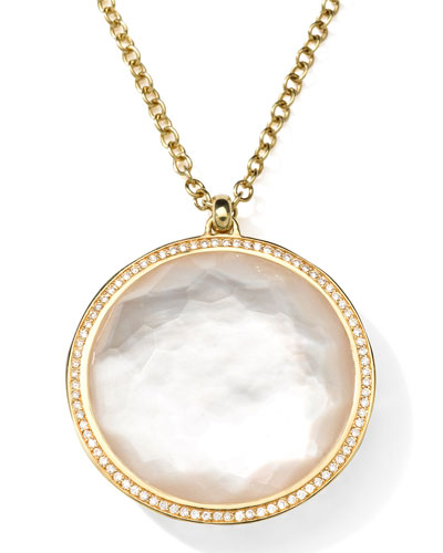 18K Gold Rock Candy Large Lollipop Necklace in Doublet & Diamonds