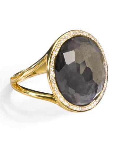 18k Rock Candy Mini Lollipop Ring in Pyrite & Diamond