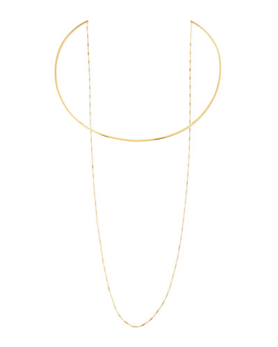 14k Gold Vermeil Collar Necklace with Draped Chain