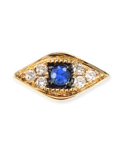 14k Yellow Gold Diamond Evil Eye Single Stud Earring