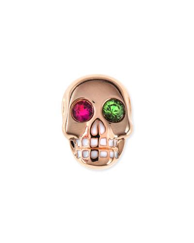 14K Rose Gold Gemstone Skull Single Stud Earring