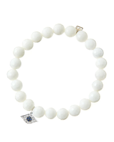 8mm Faceted White Agate Beaded Bracelet with 14k White Gold/Diamond Small Evil Eye Charm (Made ...