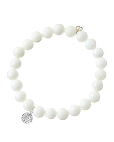 8mm Faceted White Agate Beaded Bracelet with Mini White Gold Pave Diamond Disc Charm (Made ...