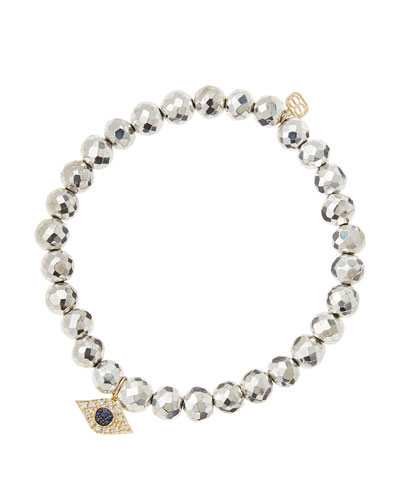 6mm Faceted Silver Pyrite Beaded Bracelet with 14k Yellow Gold/Diamond Small Evil Eye Charm ...