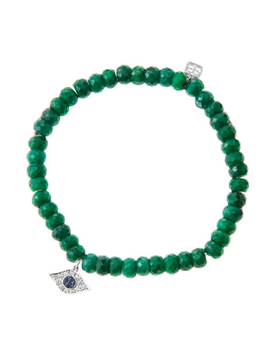 6mm Faceted Emerald Beaded Bracelet with 14k White Gold/Diamond Small Evil Eye Charm (Made to ...