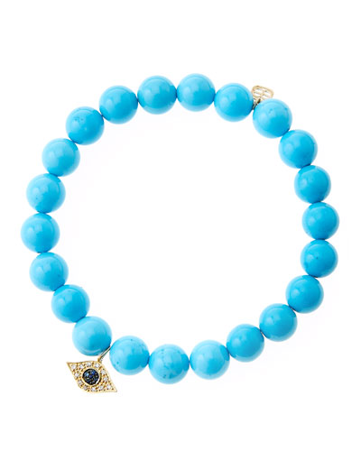 8mm Turquoise Beaded Bracelet with 14k Yellow Gold/Diamond Small Evil Eye Charm (Made to Order) ...