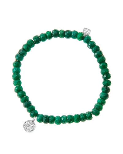 6mm Faceted Emerald Beaded Bracelet with Mini White Gold Pave Diamond Disc Charm (Made to ...
