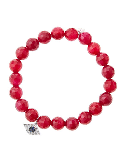 8mm Faceted Red Agate Beaded Bracelet with 14k White Gold/Diamond Small Evil Eye Charm (Made ...