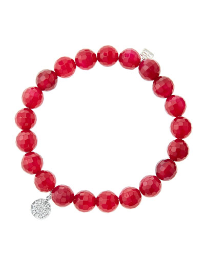 8mm Faceted Red Agate Beaded Bracelet with Mini White Gold Pave Diamond Disc Charm (Made ...