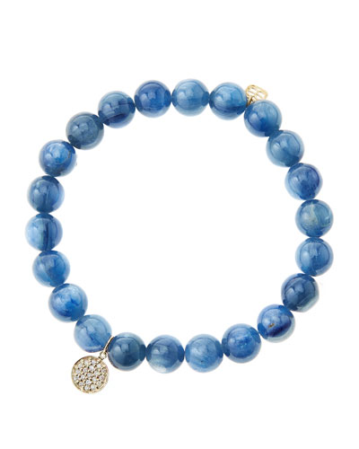 8mm Kyanite Beaded Bracelet with Mini Yellow Gold Pave Diamond Disc Charm (Made to Order) ...