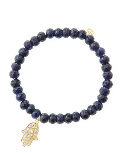 6mm Faceted Sapphire Beaded Bracelet with 14k Yellow Gold/Diamond Medium Hamsa Charm (Made to ...