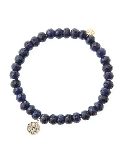 6mm Faceted Sapphire Beaded Bracelet with Mini Yellow Gold Pave Diamond Disc Charm (Made to ...