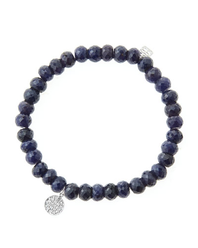 6mm Faceted Sapphire Beaded Bracelet with Mini White Gold Pave Diamond Disc Charm (Made to ...