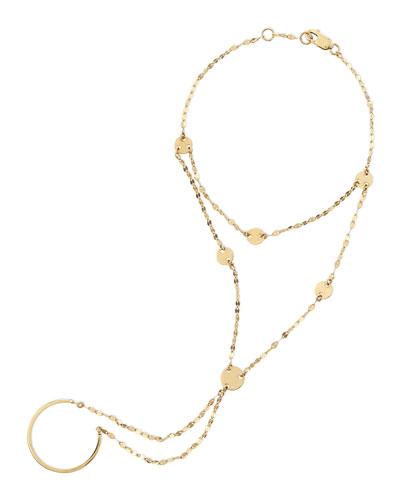 14-Karat Yellow Gold Disc Lariat Hand Chain