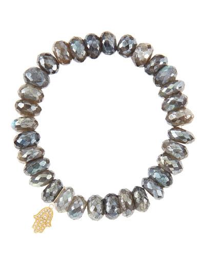 10mm Mystic Labradorite Beaded Bracelet with 14k Yellow Gold/Diamond Small Hamsa Charm (Made to ...