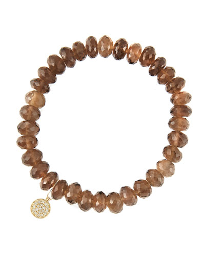 8mm Faceted Smoky Quartz Beaded Bracelet with 14k Yellow Gold/Diamond Small Disc Charm (Made to ...