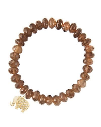 8mm Faceted Smoky Quartz Beaded Bracelet with 14k Gold/Diamond Small Elephant Charm (Made to ...