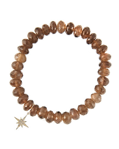 8mm Faceted Smoky Quartz Beaded Bracelet with 14k Gold/Diamond Small Starburst Charm (Made to ...