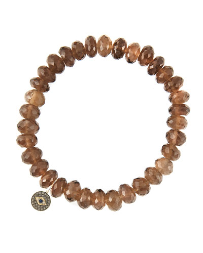 8mm Faceted Smoky Quartz Beaded Bracelet with 14k Gold/Diamond Round Evil Eye Charm (Made to ...