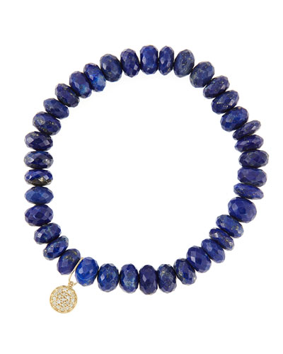 8mm Faceted Lapis Beaded Bracelet with 14k Yellow Gold/Diamond Small Disc Charm (Made to Order) ...
