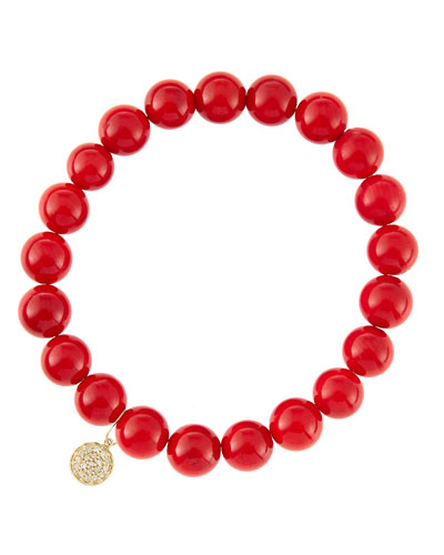 6mm Red Coral Beaded Bracelet with 14k Yellow Gold/Diamond Small Disc Charm (Made to Order) ...