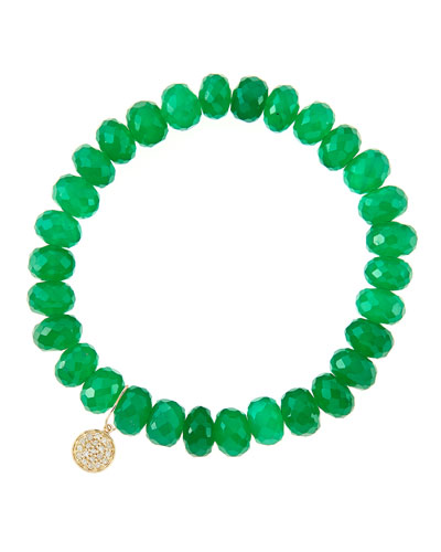 8mm Faceted Green Onyx Beaded Bracelet with 14k Yellow Gold/Diamond Small Disc Charm (Made to ...