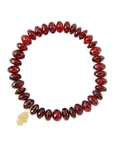 8mm Faceted Garnet Beaded Bracelet with 14k Yellow Gold/Diamond Small Hamsa Charm (Made to ...