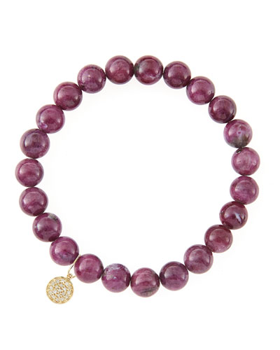 8mm Natural Ruby Beaded Bracelet with 14k Yellow Gold/Diamond Small Disc Charm (Made to Order) ...