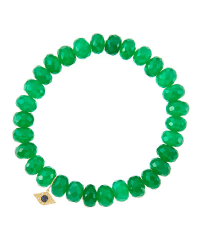 8mm Faceted Green Onyx Beaded Bracelet with 14k Yellow Gold/Diamond Small Evil Eye Charm (Made ...