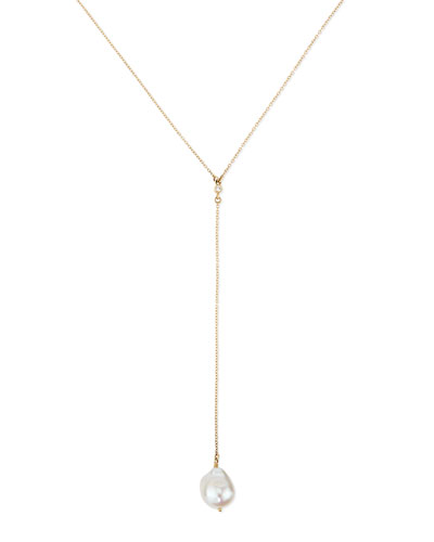 14k Gold Y Drop Necklace with Diamond & Pearl