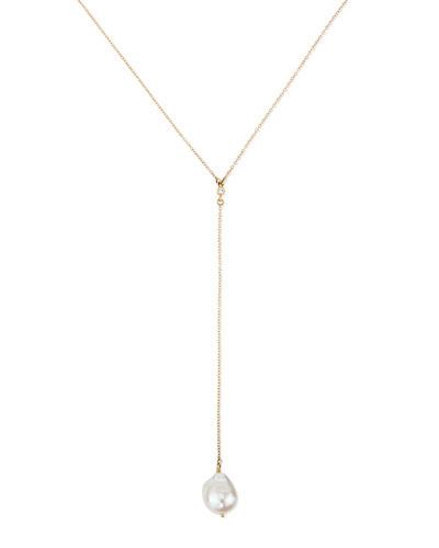 Mizuki 14k Gold Y Drop Necklace with Diamond