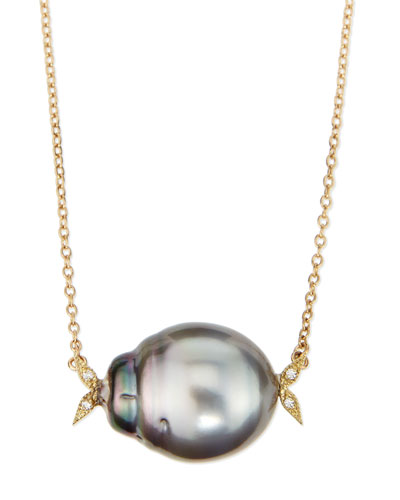 14k Gold Diamond Leaf & Black Tahitian Pearl Necklace