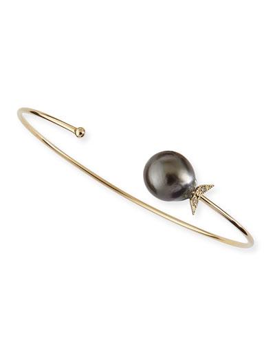 14k Gold Black Tahitian Pearl Cuff with Diamonds