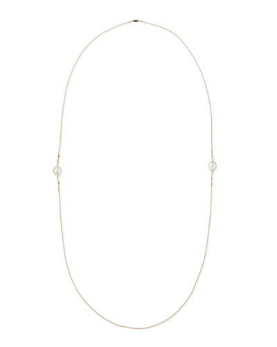 14k Gold Necklace with Diamond & Pearl Stations