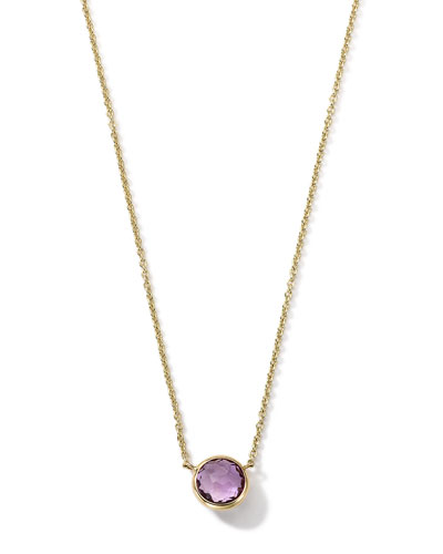 18K Gold Mini-Lollipop Birthstone Necklace (February), 16-18