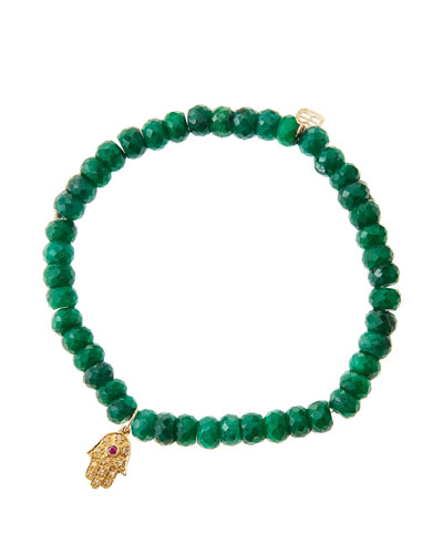 Emerald Rondelle Beaded Bracelet with 14k Gold Hamsa Charm (Made to Order)