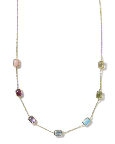 18k Gold Rock Candy Mini Gelato Rectangle Station Necklace