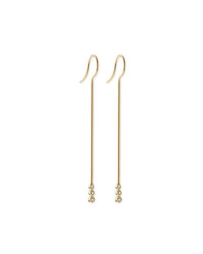 14k Gold Three-Diamond Bar Earrings