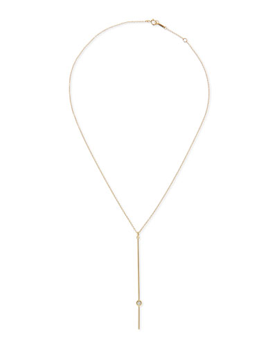 14k Gold Bar Pendant Necklace with Diamond