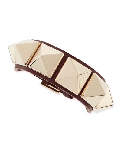 Medium Rockstud Leather Bracelet, Wine/Platino