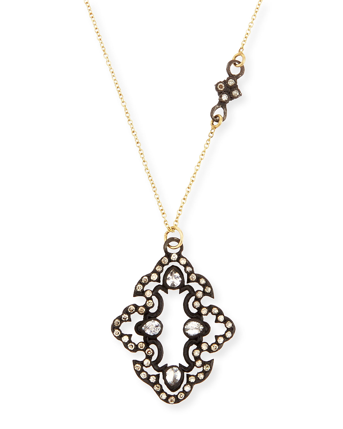 Champagne Diamond Scroll Pendant Necklace